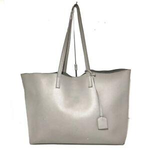 Auth SAINT LAURENT PARIS Shopping 394195 Gray Leather Tote Bag