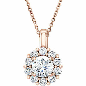 """Charles & Colvard Moissanite & 5/8 CTW Diamond 16-18"""" In 14K Rose Gold"""