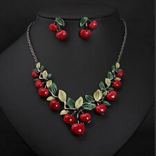 1 Set Fashion Red Cherry Jewelry Set Metal Bridal Necklace Earrings Chic NN