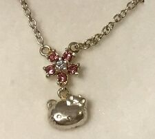 NEW Sanrio Hello Kitty Jewelry Necklace Pink Rhinestone Flower Diecut Face Case