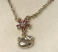 New Sanrio Hello Kitty Jewelry Necklace Pink Rhinestone Flower Diecut Face Case