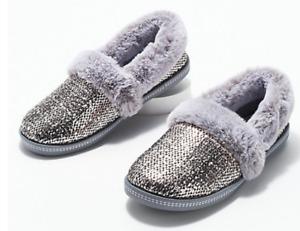 Skechers - Plush Faux-Fur Metallic Slippers - Cozy Campfire - Pewter