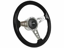 1955 - 1968 Chevy S9 Black Ash Steering Wheel Silver SS Kit | 3 Spoke-Holes