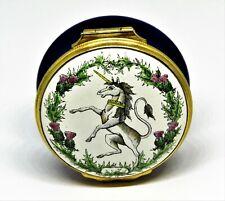 New listing Halcyon Days Enamel Box - Unicorn & Purple Thistles - Scotland - Robert Burns