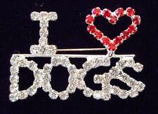 """New """"I Heart Dogs"""" Crystal Brooch"""
