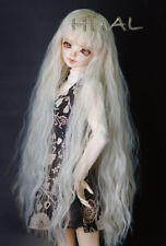 """1/4 7-8"""" BJD Doll Wig Blond Tender Blonde Curly Wavy Fluffy Afro Hair Long UAL-d"""