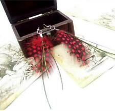 Fashion Native Red Dot Feather Peacock Thread Earrings Trendy Woman Lady Gift