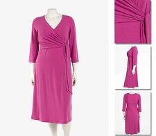 NEW!  Zaftique LS WRAP DRESS Magenta PINK (Only One!)  0Z / 14 / L Large