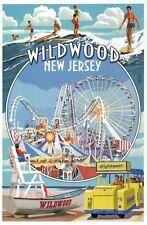 Wildwood New Jersey Montage, Amusement Park, Ferris Wheel etc. - Modern Postcard