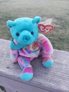 """TY Birthday Beanies Collection DECEMBER TURQUOISE Bear 8"""" Plush 2001"""
