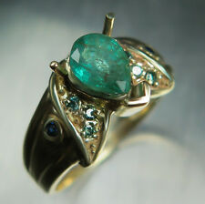 Natural Colombian Emerald, diamonds, sapphires 9ct 375 yellow gold ring