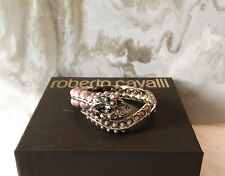 Roberto Cavalli Pink & Gold Swarovski Crystal Serpent Snake Cuff Bangle Bracelet