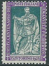 1928 REGNO FILIBERTO VITTORIA 5 LIRE MNH ** - Y220