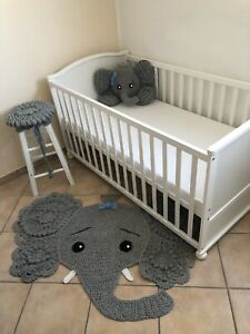 baby nursery crochet elephant rug pillow stool cover made to order