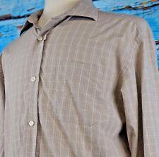 Lincs Men's Shirt Size Large Brown Check Pattern David Chu Casual Cotton Button