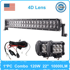 22'' 120W LED Combo Beam Light Bar 4D Driving Fog Chevy 4WD+4'' 18W Pods Wiring