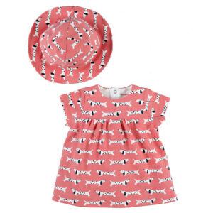 NOUKIES  Strand - Set Kleid mit Hut coral Hund allover Gr. 62 - 80  NEU