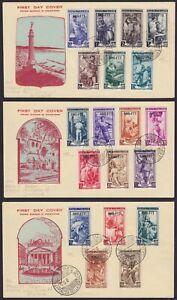 """Trieste A 1950 """"Italia al Lavoro"""" la serie 19 v. su 3 FDC figurate cert. Carraro"""