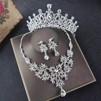 Crystal Jewelry Necklace Wedding Bridal Silver Set Rhinestone Party Prom Gifts