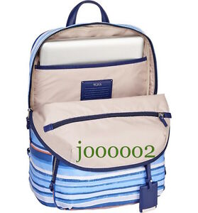 TUMI Voyageur HALLE BACKPACK NWOT RARE Moroccan Blue Stripe SUPER Fast Shipping