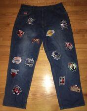 Vintage 90s 1996 UNK NBA Mens Basketball Team Logo Patch Denim Jeans Size 38