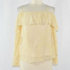 By & By Women's Cold Shoulder Lace Blouse MEDIUM Ivory Cream
