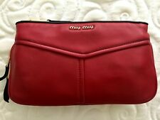 NEW  AUTHENTIC MIU MIU Biker Nappa Clutch - Red & Black Leather