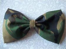 "HANDMADE 5"" GREEN CAMOUFLAGE CAMO ARMY PRINT COTTON FABRIC BOW HAIR CLIP URBAN"