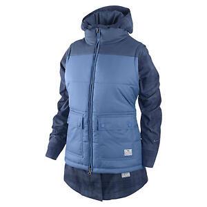 WOMENS 3 IN 1 BELLEVUE BLUE PLAID NIKE COAT JACKET VEST L LARGE $300 SNOWBOARD