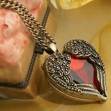 Fashion Women Retro Vintage Heart Crystal Pendant Long Chain Necklace Jewelry CH