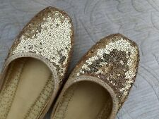 GOLD LADIES INDIAN LEATHER WEDDING   PARTY BACK LESS SLIPPER SHOES   SIZE 7