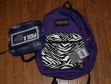 Jansport Superbreak Mix-up Backpack Purple/Zebra w/Interchangeable Pockets