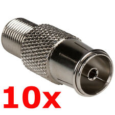 10 Pack - PAL Female to F Type Jack Adapter - Coax TV FM Radio Antenna Converter