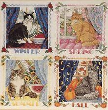 Four Seasons Cats Cross Stitch Sudberry Kit w/ Aida Cloth Floss & Chart OP