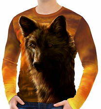 Black Wolf Mens Long Sleeve T-Shirt Tee wa2 aao40212
