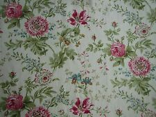 "SANDERSON  CURTAIN FABRIC DESIGN ""Elouise"" 2.1 METRES WILLOW/PINK 100% LINEN"