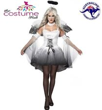 Ladies White Small Fallen Angel Halloween Costume Dress & Wings Size 8-10 AU
