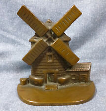 Antique National Foundry #10 Solid Cast Brass Windmill Door Stop