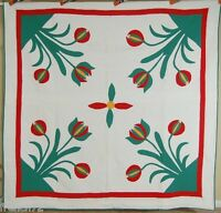 Vintage 30's Red, Green & Cheddar Tulips 4-Block Antique Quilt ~GREAT QUILTING!