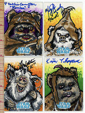 Star Wars Sketch Card Ewok Set of 4 All Actor Autographed one of a kind Topps