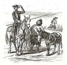 DON QUICHOTTE QUIROTE QUIXOTE SANCHO PANZA GRAVURE CUT ETCHING GRANVILLE 1858