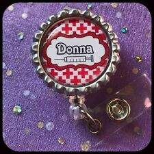 PHLEBOTOMIST PERSONALIZED Name Bottle Cap ID Badge Holder Lanyard Work Clip RN