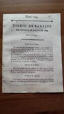 1809 Num. 223 Diario de Badajoz del Sabado 12 Agosto, Barcelona Córdoba Sevilla