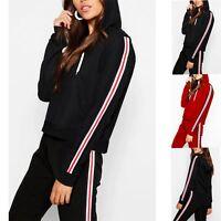Womens Full Sleeve Hooded Hoody Pullover Ladies Side Stripes Sweater Sweatshirt