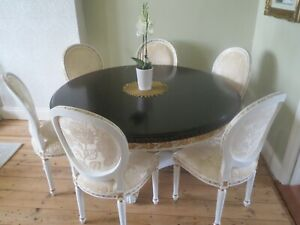 French style dining table with 6 chairs dark wood top and cream/gold stand
