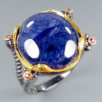 Antique Jewelry Natural Blue Sapphire 925 Sterling Silver Ring Size 8.5/R114976