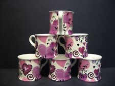 Set Of 6 Harts & Flowers English Fine Bone China Mugs Beakers By Milton China