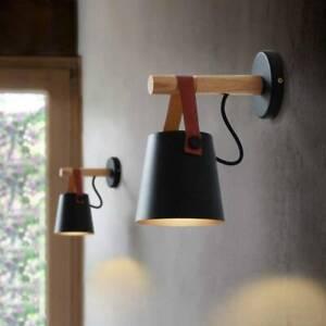 Nordic Modern Wood Wall Lamp Metal Lamp Shades Wall Sconce Lighting Black UK
