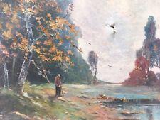 Belle Peinture 1900 Sur Toile Rivière Lac Animé Barbizon Hst Signé Cunge