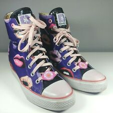 Daddy's Money Secret Wedge Purple Lips Sequins High Top Trainers Shoes UK 6